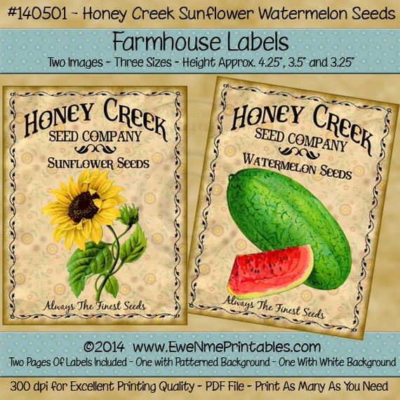 Sunflower and Watermelon Seed Pack Farmhouse Label Printables - Honey Creek Watermelon, Sunflower Seeds - Honey Creek Seed Co. -  PDF or JPG