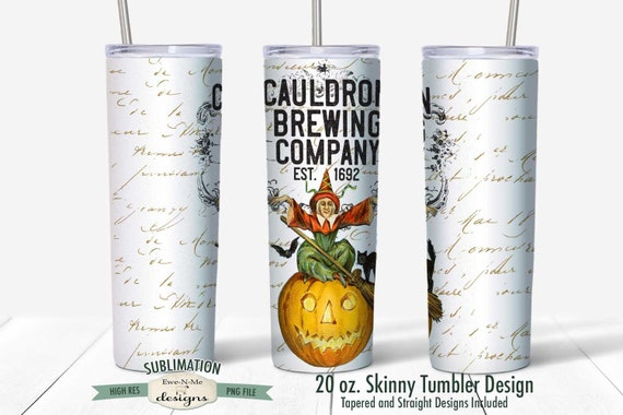 Cauldron Brewing Company  Sublimation Design - Vintage Halloween Witch - Sublimation for  20 oz. Tumbler Straight and Tapered