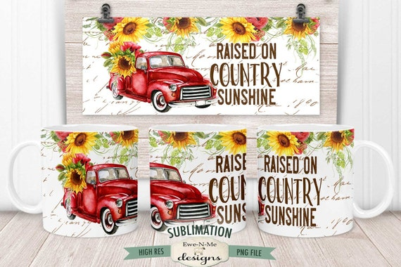Red Truck Sunflowers Sublimation Mug Design - Country Sunshine - Printable 11 oz. and 15 oz. Mug Sublimation Wrap PNG