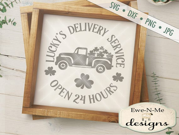 St Patricks Day SVG File - Truck with Shamrocks SVG - St Patricks svg  - Luckys Delivery - Shamrocks -  Commercial Use svg, dxf, png and jpg