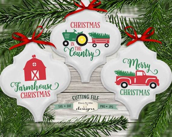 Red Truck svg - Tractor Christmas Tree  svg - Barn svg - Farmhouse Country Ornament SVG
