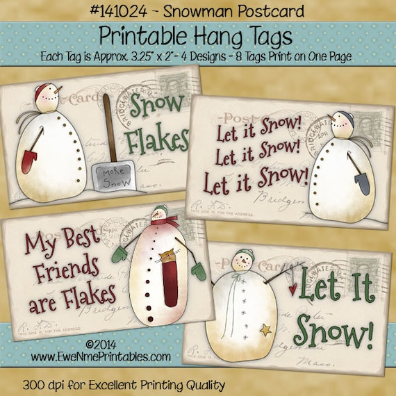 Printable Snowman Tags with Vintage Postcard Background - Primitive Style - hang tag or gift tag - Digital Print PDF and/or JPG File