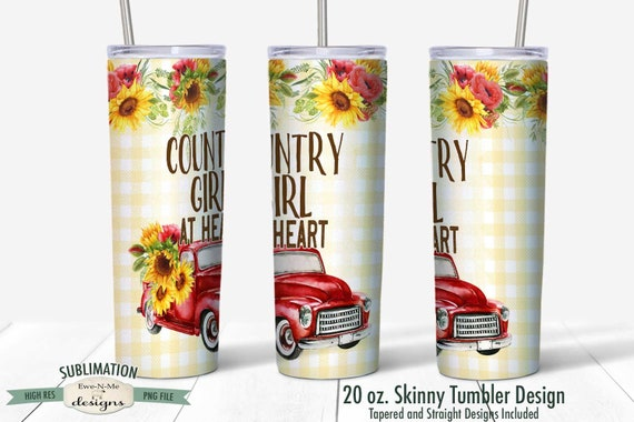 Red Truck with Sunflowers Sublimation Design - Country Girl at Heart  - Sublimation 20 oz. Tumbler Straight Tapered