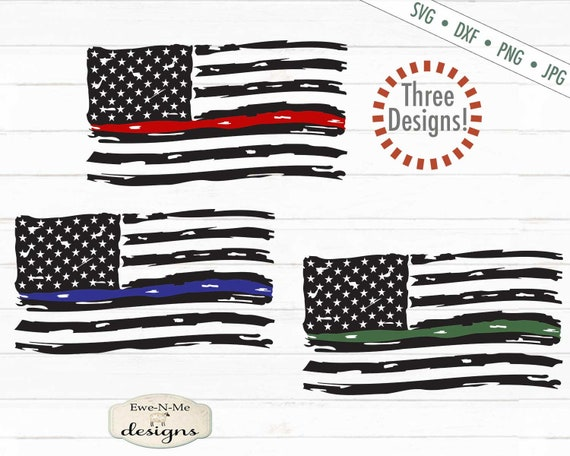 Distressed American Flag - Red Line Flag, Blue Line Flag,  Green Line Flag SVG
