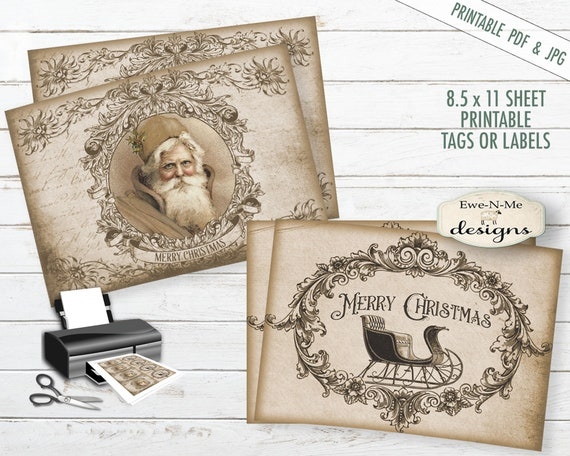 Printable Christmas Tags - Old Santa - Father Christmas - Printable Hang Tags - Old Sleigh - Commercial Use PDF and JPG File Included