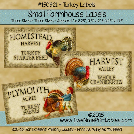 Vintage Style Thanksgiving Label Printable - Turkey - Harvest - Plymouth - Homestead - Digital PDF or JPG File