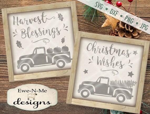 Christmas svg - Harvest svg - old truck pumpkins svg - old truck christmas svg - fall christmas bundle - Commercial use svg, dxf, png, jpg