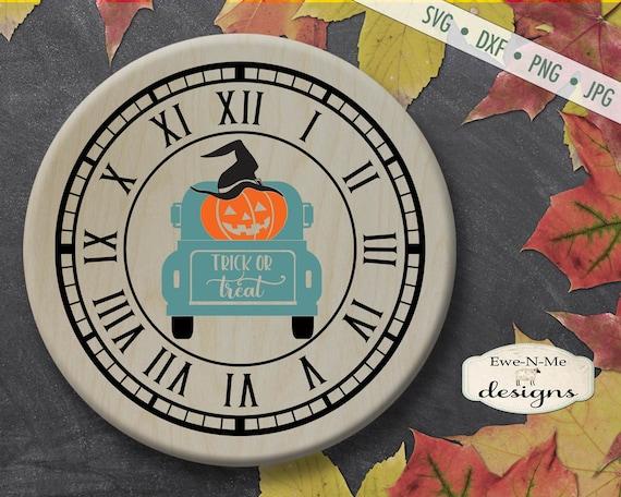 Clock Face svg - Halloween SVG - Jack O Lantern SVG - Clock svg - truck svg - vintage truck SVG - Commercial Use svg, dxf, png and jpg