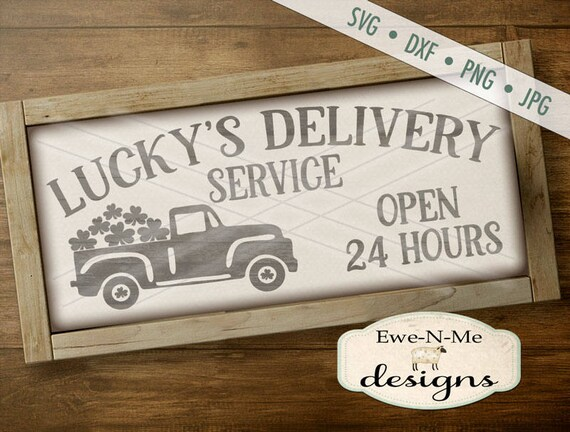 St Patricks Day SVG - St Patricks svg - Truck with Shamrock SVG - Lucky's Delivery - Shamrocks -  Commercial Use svg, dxf, png, jpg