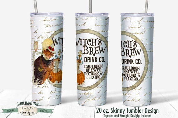 Witch Brew Drink Company Sublimation Design - Vintage Halloween Witch Cauldron - Sublimation for  20 oz. Tumbler Straight and Tapered