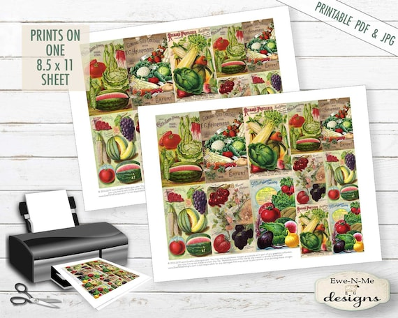 Collage Sheet - Seed Pack Images - garden seed printable - Sheet tags -  PDF, JPG file