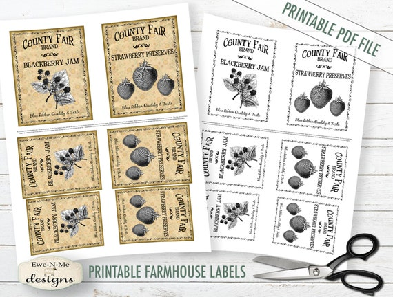 Printable Farmhouse Labels - County Fair Preserves - Blackberry Jam - Strawberry Preserves -  Digital Print PDF and/or JPG File
