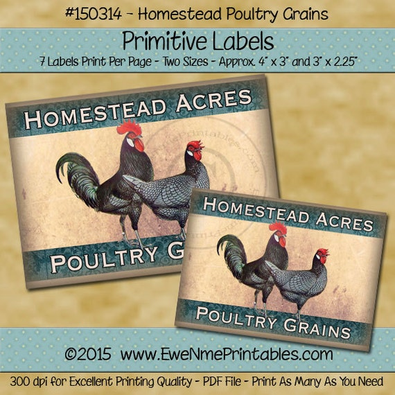 Printable Rooster, Chicken Farmhouse Label Sheet Homestead Acres Poultry Grains - Printable PDF/JPG File