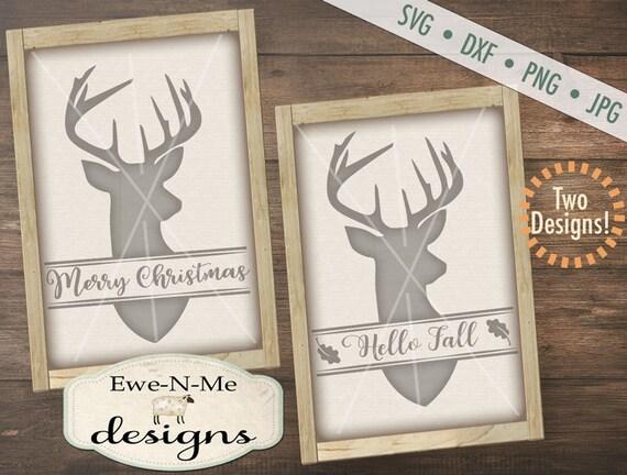 Deer svg - Merry Christmas svg - Hello Fall svg - deer head svg - Split Deer SVG