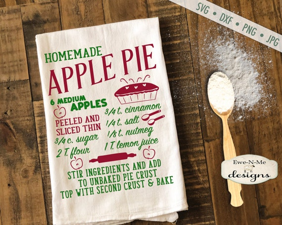 Apple Pie SVG  - pie recipe svg - Fall svg - Apple svg - Autumn SVG - Kitchen svg - Commercial Use svg, dxf, png and jpg files