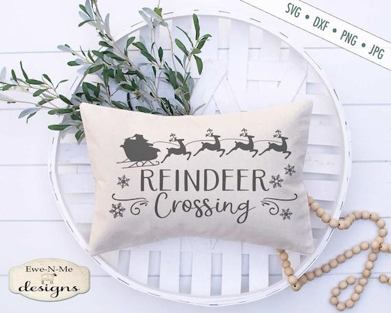 Christmas SVG - Reindeer Crossing SVG - Reindeer svg - Santa Sleigh svg - Snowflake SVG - Commercial Use svg, dxf, png and jpg