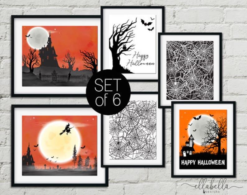 Halloween Decor  PRINTABLE Wall Art Set of 6  Haunted House image 0