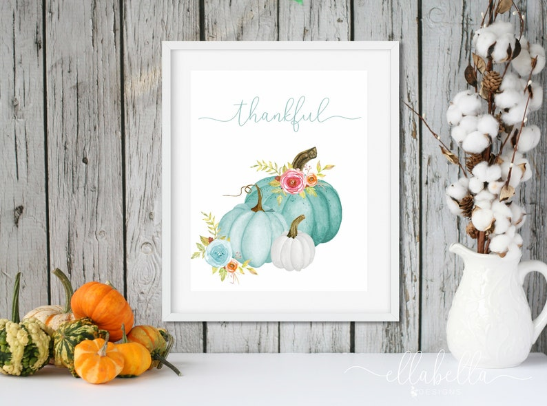 Floral Watercolor Pumpkin Fall PRINTABLE Wall Art  Turquoise image 0
