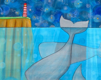 Whales Night Lighthouse print by Shelagh Duffett