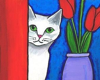 White Cat and Red Tulips - Print Shelagh Duffett