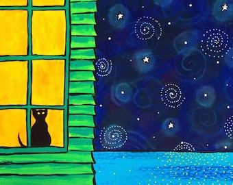 Black Cat window Night Sky print by Shelagh Duffett