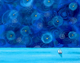 Sailboat, starry sky, night.seascape,coastal, Shelagh Duffett Print