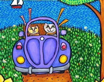 Two Cats in a  Purple Volkswagon Shelagh Duffett print