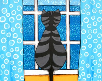 Silvia, Tabby Cat in Window with Books, Print Shelagh Duffett