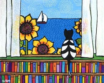 Cat and Books window ocean, Shelagh Duffett print