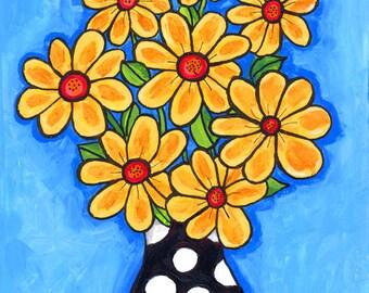 Yellow polkadot Flower Bouquet, Shelagh Duffett