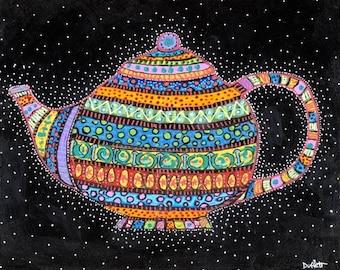 Celestial Teapot  tea-  Shelagh Duffett Print