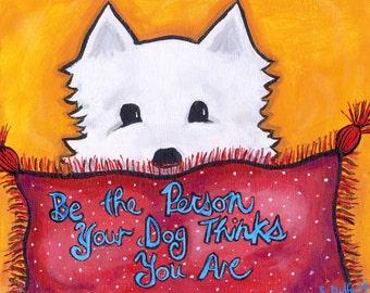 Westie White Dog Highland Terrier print by Shelagh Duffett