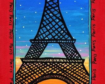 Paris Eiffel Tower print from painting Shelahg Duffett