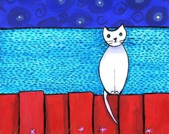 White Cat on Fence Acadian Cat  Shelagh Duffett - Print