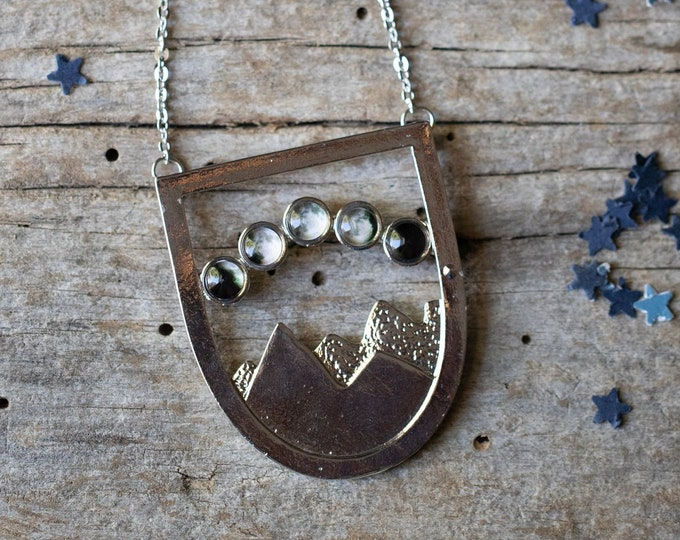 Landscape Jewelry Wearable Art Lunar Phases CLEARANCE DISCONTINUED Mountain Moon Phase Necklace Boho Outer Space Mountain Range