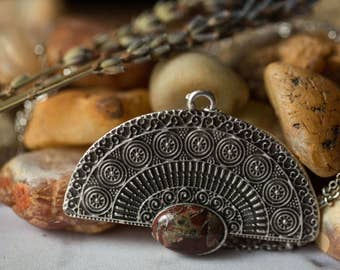 CLEARANCE Fan Necklace with Natural Jasper - Bohemian Pendant - Antique Silver, Unique Statement Piece - Boho Stones