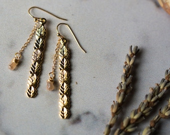 CLEARANCE - Elegant Leaf Earrings - Long Slender Gold Earrings with Champagne Zircon Wire Wrapped Briolettes - Nature Inspired Earrings