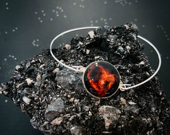 CLEARANCE - Delicate Cuff Bracelet in Silver Tone with Heart Nebula