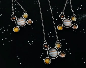 Jupiter Jewelry Set - Galilean Moon Necklace and Earrings Jewellery Gift Set - Celestial Jewelry, Planet, STEM Fashion, Cosmic Jewellery