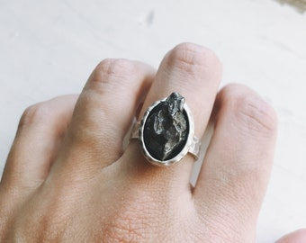 Meteorite Rough Ring Organic Silver Ring Simple unique space gift Meteorite Raw Stone Ring Authentic Meteorite Ring Wide Band Rough Ring