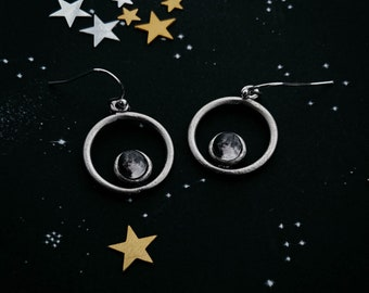 My Moon Circle Dangle Earrings Silver Tone Customized Lunar Phase Chandelier Personalized Celestial Jewelry How the Moon Looked