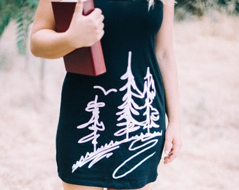 CLEARANCE - Screenprinted Black Tank Forest Dress - Nature Clothing - Wearable Art, Black and White Tunic, Screen Printed Dress, Handmade