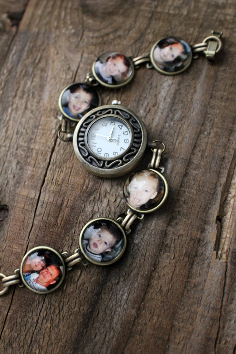 Custom Photo Watch Bracelet  Personalized with YOUR photos  Antique Gold