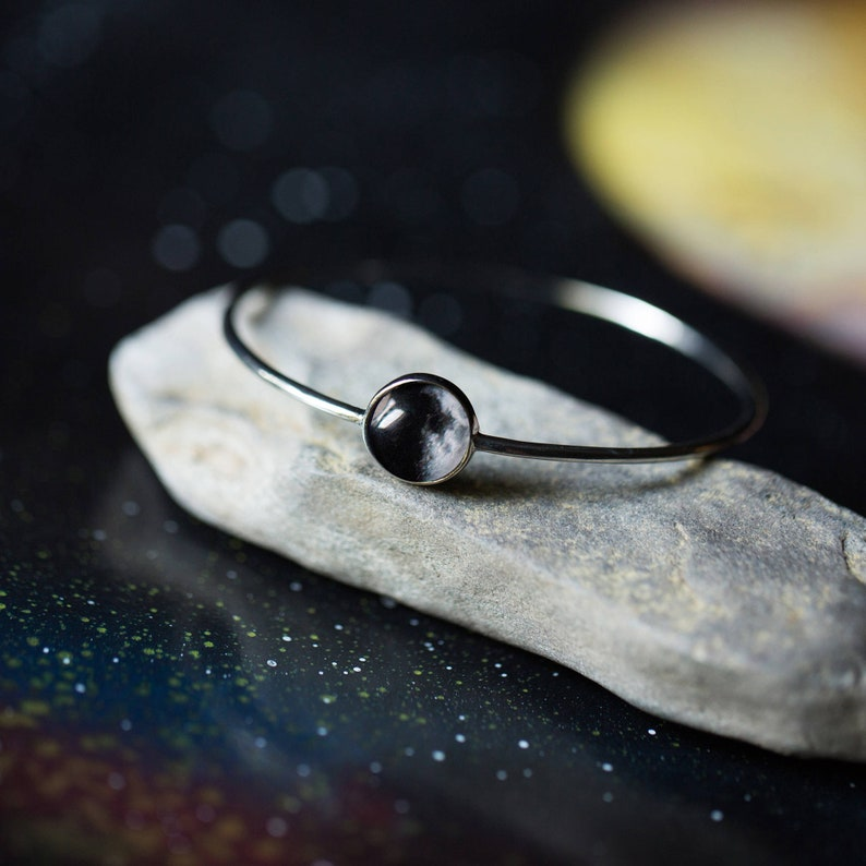 Bangles Stacking Set of Gold and Silver Lunar Phase Bracelets Galaxy Jewellery Moon Phase Stacker Bracelets Outer Space Jewelry