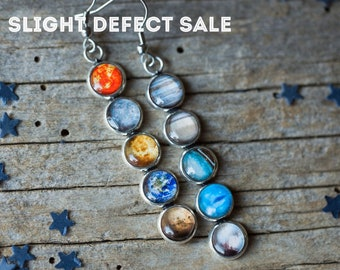 SLIGHTLY DEFECTIVE Mismatch Solar System Earrings - Galaxy Dangle Earrings - Outer Space Galaxy Wedding Jewelry - Planets, Pluto, Earth, Sun