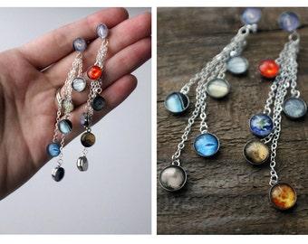Solar System Earrings - Long, Sterling Silver, Cascade Dangle Earrings - Planets, Milky Way, Sun - Elegant, Statement Galaxy Jewelry