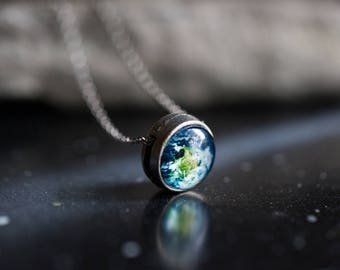 Galaxy Slide Pendant - Antique Silver or Bronze - Petite Solar System Planet and Nebula Necklace - Outer Space Jewelry, Choose Your Design