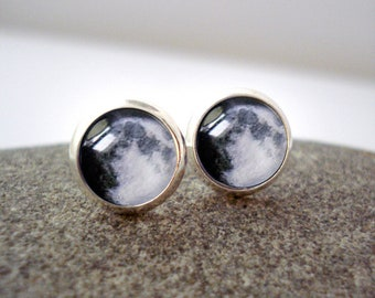 Birth Moon Phase Petite Stud Earrings - Personalized Moon Post Earrings - Custom Moon Jewelry, Unique Bridal Party Gift