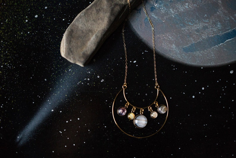 Galilean Moon Necklace Lunar Space Galaxy Jewelry by Yugen Unique Science Gift Moons of Jupiter Statement Pendant in 14k Gold