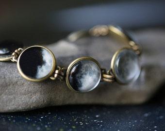 Moon Bracelet - Luna, Full Moon, Antique Bronze or Silver - Science Jewelry, Lunar Phases - As Seen On IFLS, Original Moon Phase Bracelet